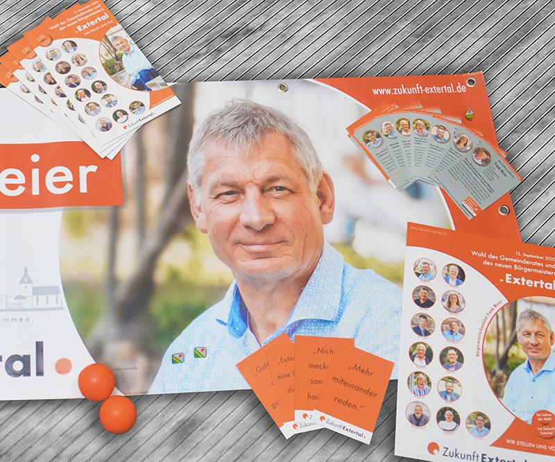 Werbebanner, Flyer, Mailings, Merchandise-Artikel…